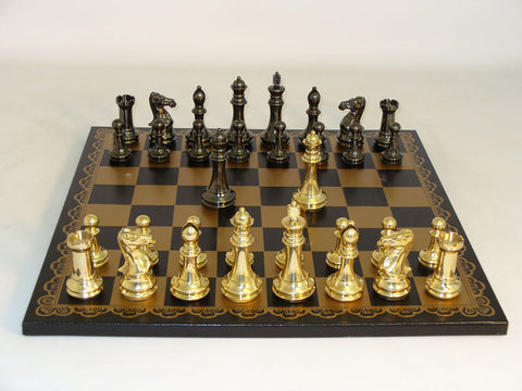 40BCDQ-203GN Brass Staunton Black & Gold Leather Board - Peazz Toys