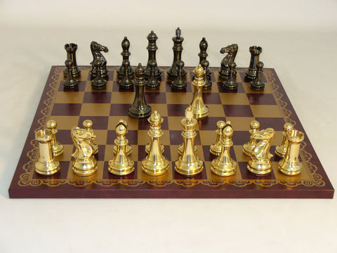 40BCDQ-203GR Brass Staunton Burgundy & Gold Leather Board - Peazz Toys