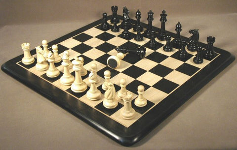"Ebony & Maple Chess Board, Meghdoot Ebony Chess Pieces 4"" King - Peazz Toys"