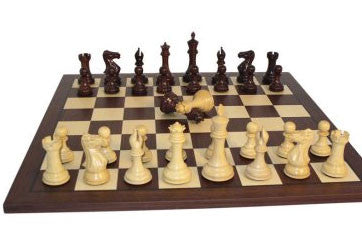 Rosewood and Boxwood Triple Weight Double Queen with Framed Dark Rosewood and Maple Board - Peazz Toys