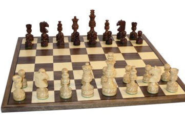 Sheesham and Boxwood Double Weight Royal Plus Carved with Framed Walnut and Maple Board - Peazz Toys