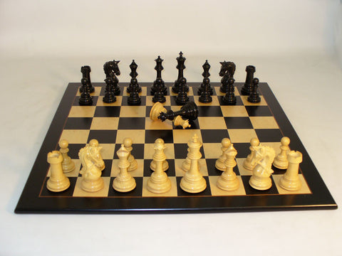 WW Chess 42EPRDQ-BBM Ebony Parthenon Black Birdseye Maple Board - Peazz Toys