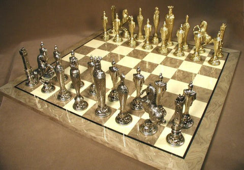 "Renaissance Metal Chess Pieces with 5 1/2"" King on 21 7/10"" Glossy Grey Briar Board - Peazz Toys"