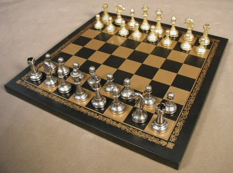 "Staunton Metal Chess Pieces with 2"" King on 10 1/2"" Pressed Leather Chess Board - Peazz Toys"