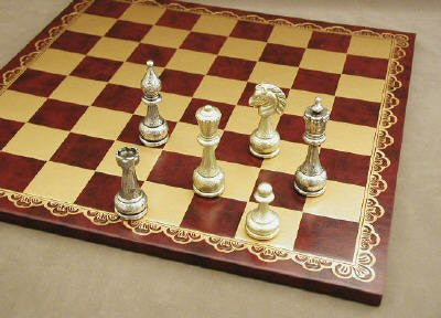 "Staunton Metal Chess Pieces with 4"" King on Pressed Leather 18"" Chess Board - Peazz Toys"