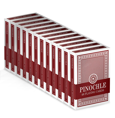 Brybelly GCAR-101*12 12 Red Decks of Pinochle Playing Cards - Peazz Toys