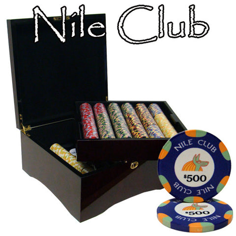 Brybelly PCS-1205M 750 Ct Standard Breakout Nile Club Chip Set - Mahogany Case - Peazz Toys