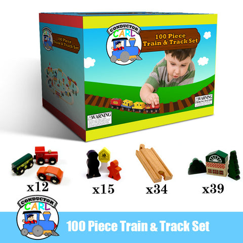 Conductor Carl TCON-06 Conductor Carl 100 Piece Wooden Train Set - Peazz Toys