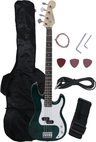 Crescent Direct EB46-TG 46 Inch Transparent Green Premium Electric Bass Guitar - Peazz Toys