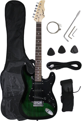 Crescent Direct EG-GB 39 Inch Green Premium Electric Guitar with Black Picard - Peazz Toys
