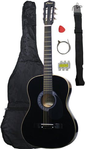 Crescent Direct MG38-BK 38 Inch Black Beginner Acoustic Guitar - Peazz Toys