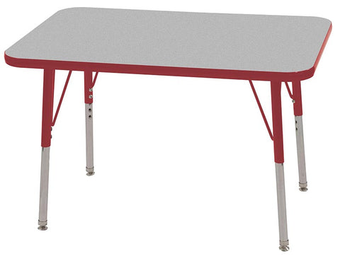 "ECR4Kids ELR-14106-GRD-SS 24x36"" Rect Table Grey/Red-Standard Swivel - Peazz Toys"