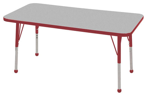 "ECR4Kids ELR-14107-GRD-SB 24x48"" Rect Table Grey/Red-Standard Ball - Peazz Toys"