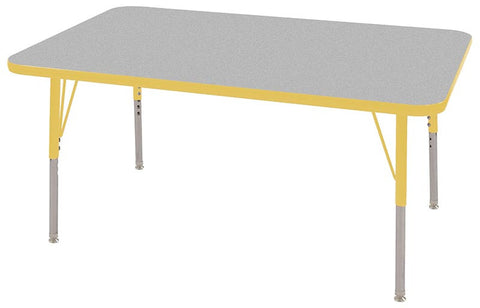 "ECR4Kids ELR-14110-GYE-SS 30x48"" Rect Table Grey/Yellow-Standard Swivel - Peazz Toys"