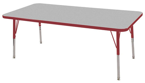 "ECR4Kids ELR-14111-GRD-SS 30x60"" Rect Table Grey/Red-Standard Swivel - Peazz Toys"