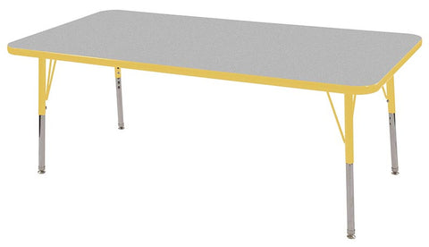 "ECR4Kids ELR-14111-GYE-SS 30x60"" Rect Table Grey/Yellow-Standard Swivel - Peazz Toys"