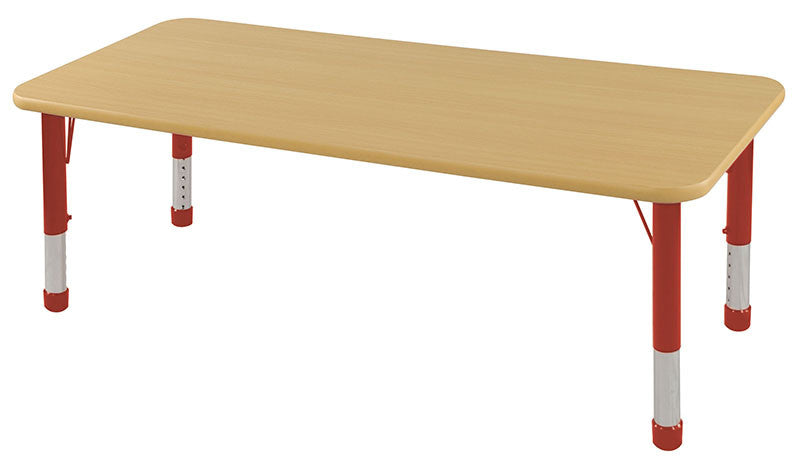 ECR4Kids ELR-14111-MMRD-C 30x60 Rect Table Maple/Red-Chunky