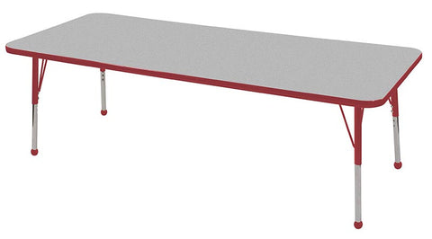 "ECR4Kids ELR-14112-GRD-SB 30x72"" Rect Table Grey/Red-Standard Ball - Peazz Toys"