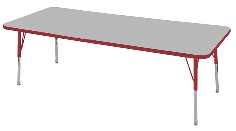 ECR4Kids ELR-14112-GRD-SS 30x72 Rect Table Grey/Red-Standard Swivel