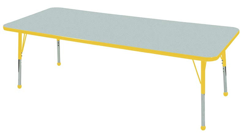 ECR4Kids ELR-14112-GYE-SB 30x72 Rect Table Grey/Yellow-Standard Ball