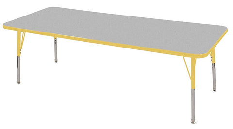"ECR4Kids ELR-14112-GYE-SS 30x72"" Rect Table Grey/Yellow-Standard Swivel - Peazz Toys"