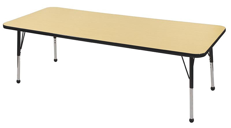 ECR4Kids ELR-14112-MBBK-SB 30x72 Rect Table Maple/Black-Standard Ball