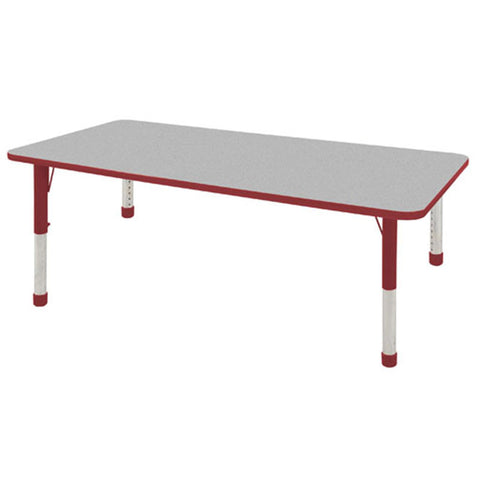 "ECR4Kids ELR-14113-GRD-C 36x72"" Rect Table Grey/Red-Chunky - Peazz Toys"