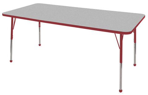 "ECR4Kids ELR-14113-GRD-SB 36x72"" Rect Table Grey/Red-Standard Ball - Peazz Toys"