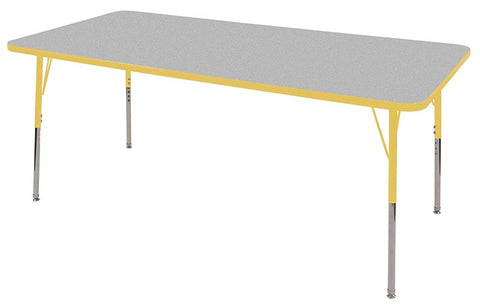 "ECR4Kids ELR-14113-GYE-SS 36x72"" Rect Table Grey/Yellow-Standard Swivel - Peazz Toys"