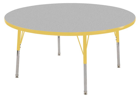 "ECR4Kids ELR-14115-GYE-SS 48"" Round Table Grey/Yellow-Standard Swivel - Peazz Toys"