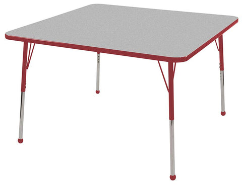 "ECR4Kids ELR-14117-GRD-SB 48"" Square Table Grey/Red-Standard Ball - Peazz Toys"