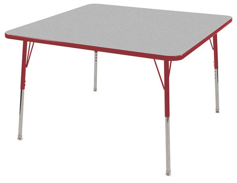 "ECR4Kids ELR-14117-GRD-SS 48"" Square Table Grey/Red-Standard Swivel - Peazz Toys"