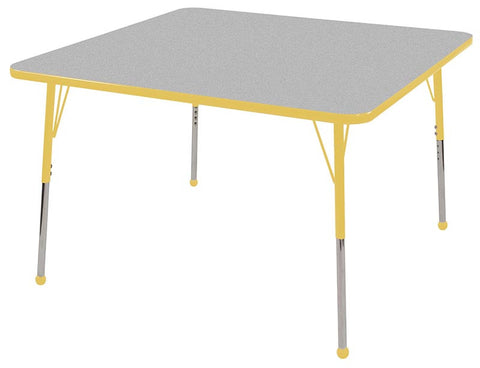 "ECR4Kids ELR-14117-GYE-SB 48"" Square Table Grey/Yellow-Standard Ball - Peazz Toys"