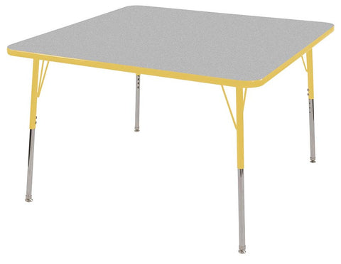 "ECR4Kids ELR-14117-GYE-SS 48"" Square Table Grey/Yellow-Standard Swivel - Peazz Toys"