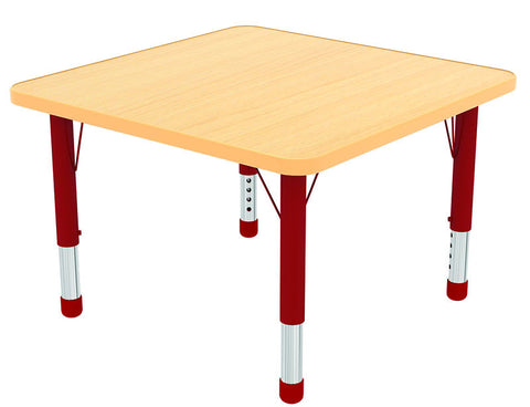 "ECR4Kids ELR-14117-MMRD-C 48"" Square Table Maple/Red-Chunky - Peazz Toys"