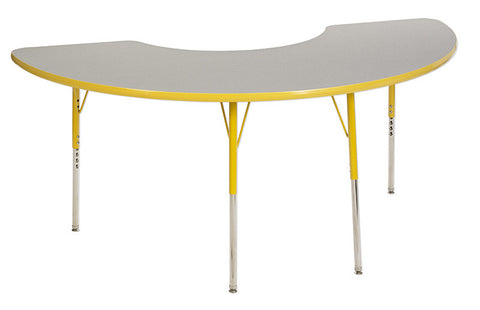 ECR4Kids ELR-14120-GYE-SS Half Moon Table Grey/Yellow-Standard Swivel - Peazz Toys