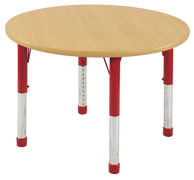 ECR4Kids ELR-14121-MMRD-C 30 Round Table Maple/Red -Chunky