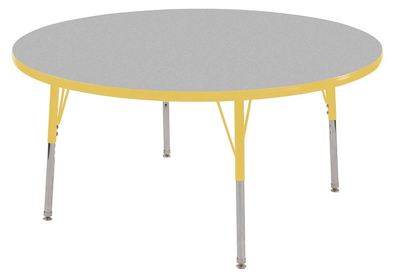 ECR4Kids ELR-14124-GYE-SS 60 Round Table Grey/Yellow-Standard Swivel