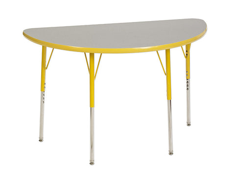 ECR4Kids ELR-14125-GYE-SS Half Round Table Grey/Yellow-Standard Swivel - Peazz Toys