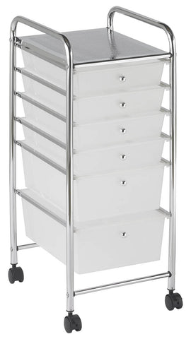 ECR4Kids ELR-20102-WH 6 Drawer Mobile Organizer - White - Peazz Toys