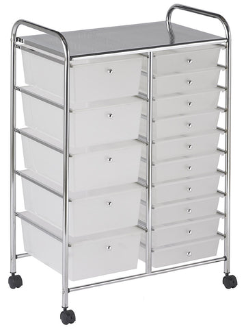 ECR4Kids ELR-20103-WH 15 Drawer Mobile Organizer - White - Peazz Toys