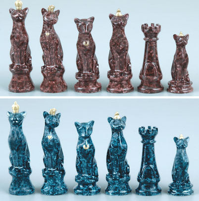 Fame 2630 Marbleized Cats Chess Set Pieces