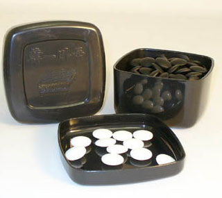 Jang Stone Glass Go Stones in Black Bowls 22802K-8BW - Peazz Toys