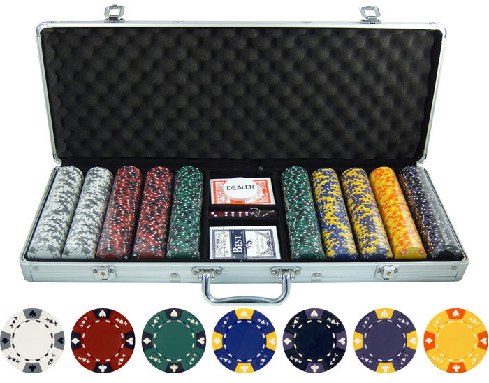 135g 500pc Ace King Tricolor Clay Poker Chip Set