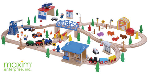 Maxim Enterprise 100 Piece Wooden Train Set (50117-WS) - Peazz Toys