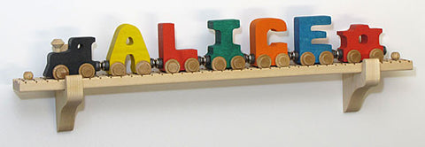 Maple Landmark 10927 NameTrain Wall Mount Set w/7 Cars - Peazz Toys