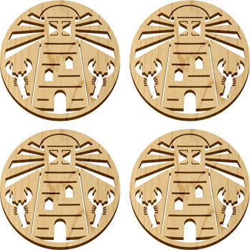 Maple Landmark 66220 Solace Coasters, 4 Pc, Lighthouse - Peazz Toys