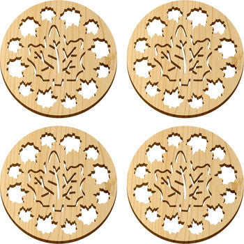Maple Landmark 66225 Solace Coasters, 4 Pc, Maple Leaves - Peazz Toys