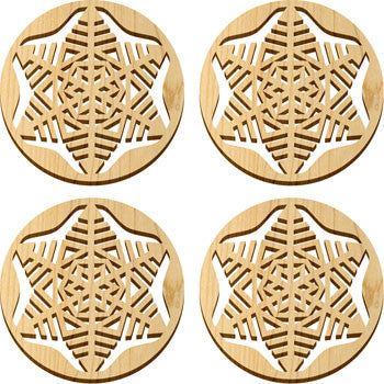 Maple Landmark 66235 Solace Coasters, 4 Pc, Snowflake - Peazz Toys