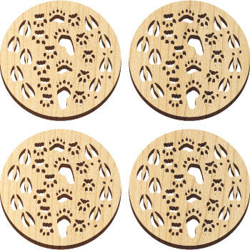 Maple Landmark 66237 Solace Coasters, 4 Pc, Tracks - Peazz Toys